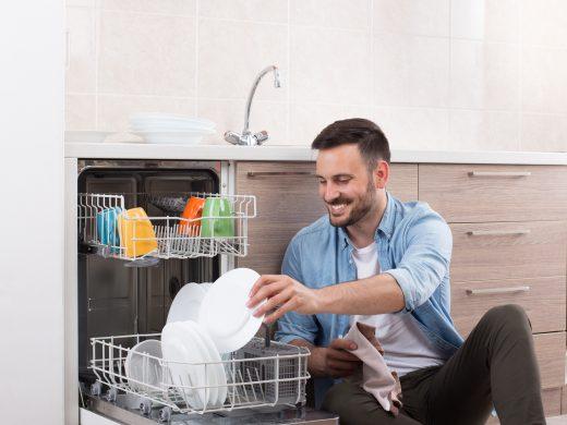 Man and dishwasher