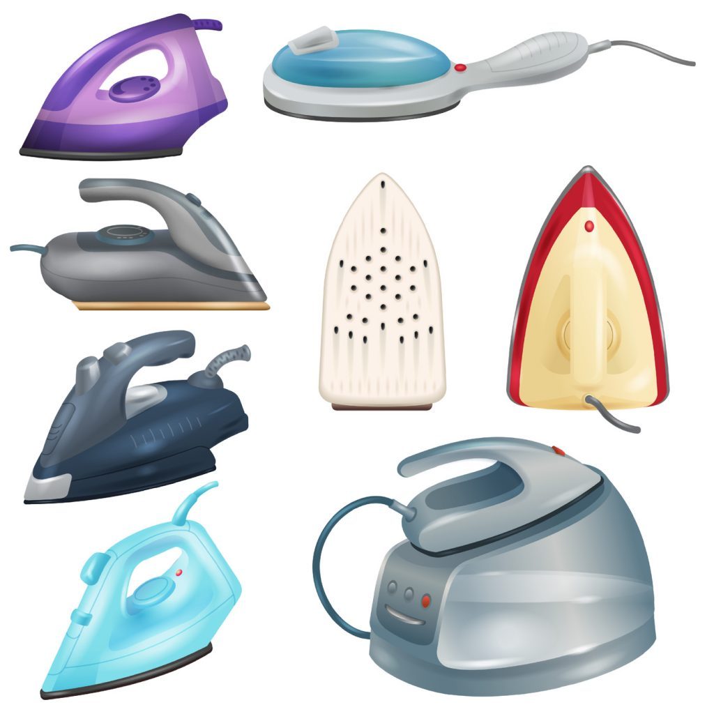 Iron vector ironing electric household appliance of laundry housework 3d realistic illustration irony housekeeping set of hot irony steam equipment